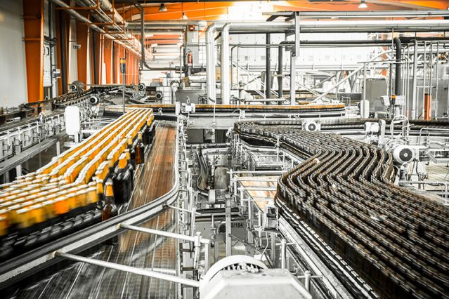 A production line with an industrial scale cooling system