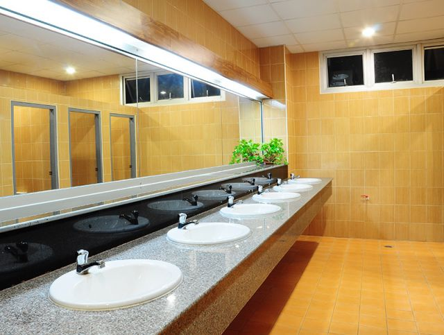 A public restroom, displaying some of AES's Sanitaryware solutions